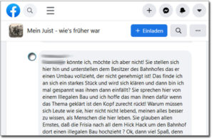 Juister Bahnhof: Facebook-Kommentar